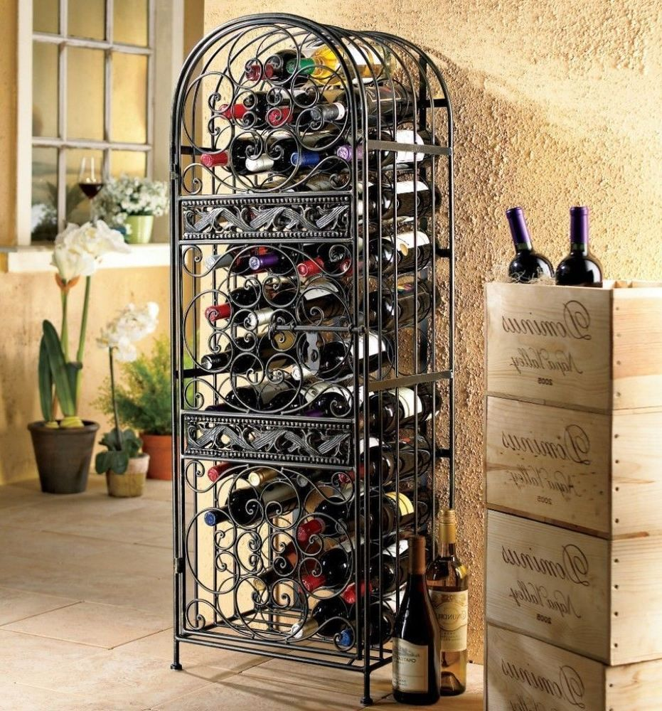 Wrought Iron Wine Jail Decorative Rack In Antique Bronze Finish