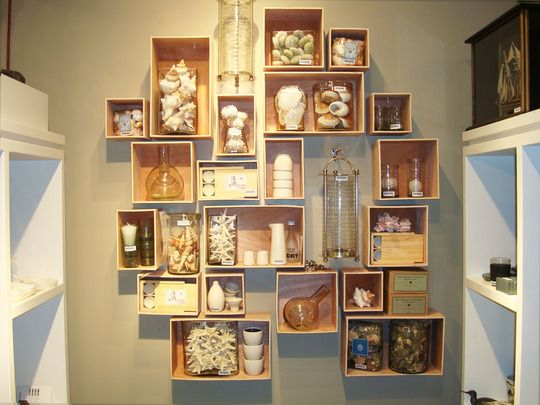 Modern Wall Displays Of Collections The Decorologist Displaying Collections Diy Wall Shelves Wooden Wine Crates