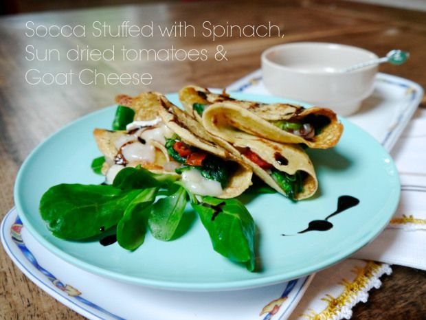 Socca (chickpea crepe) with goat cheese, sun dried tomatoes & spinach.