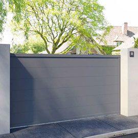 Portail Coulissant Aluminium Chalon Gris 7016 Sable 300 X H 160 Cm Portail Coulissant Portail Alu Portail