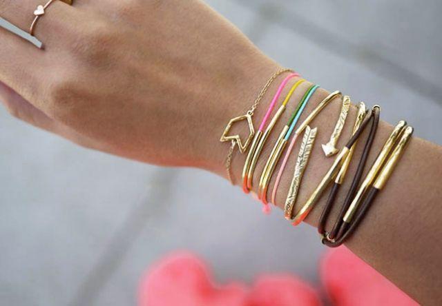 DIY-armreif-satz-Gold-röhrchen-design
