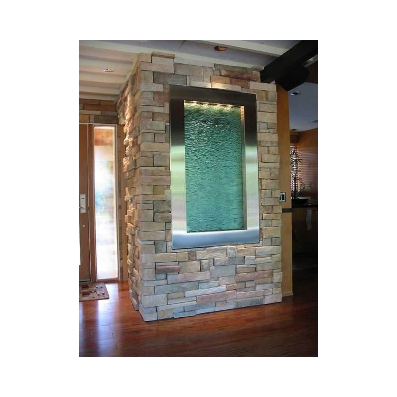 water feature interior indoor wall water fountain built into wall stone around - Interior Wall Water Fountains