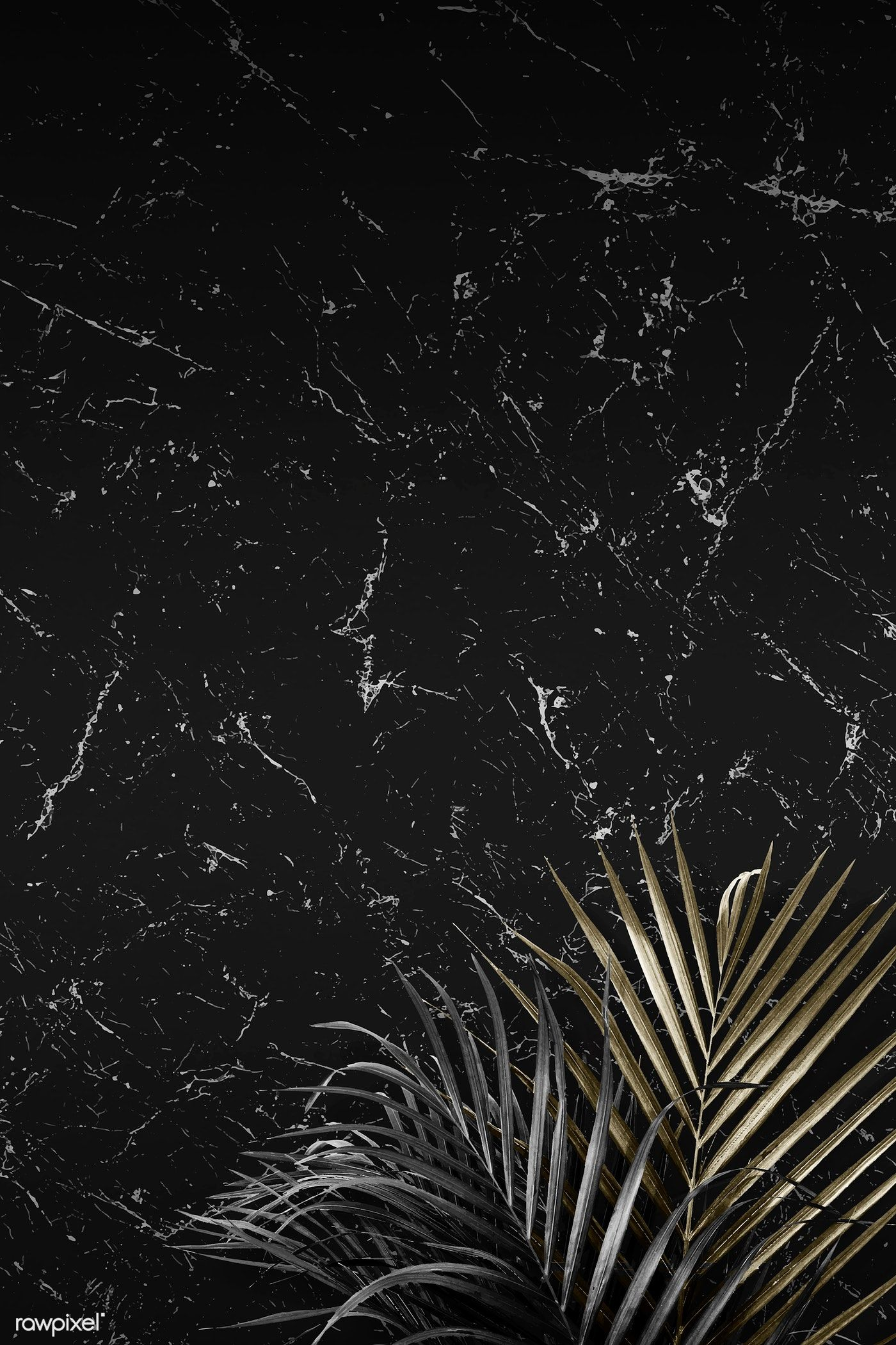 Download premium illustration of Palm leaves on a marble textured #marbletexture