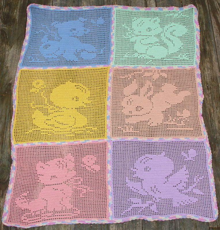 Filet Crochet Carriage or Crib Cover - Baby Animals - CROCHET #filetcrochet
