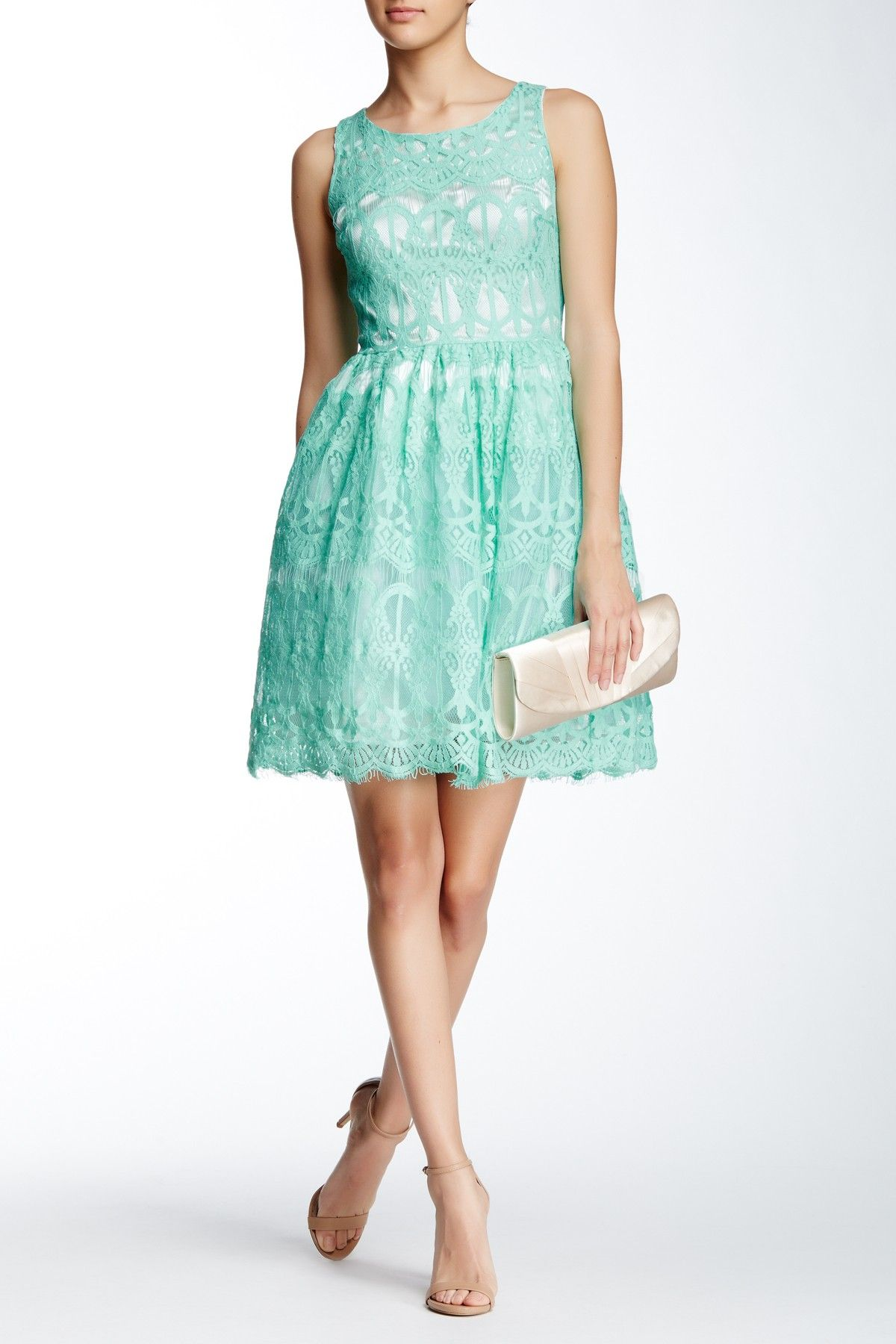 Green dress with lace overlay  Soprano  Lace Skater Dress  Nordstrom and Weddings