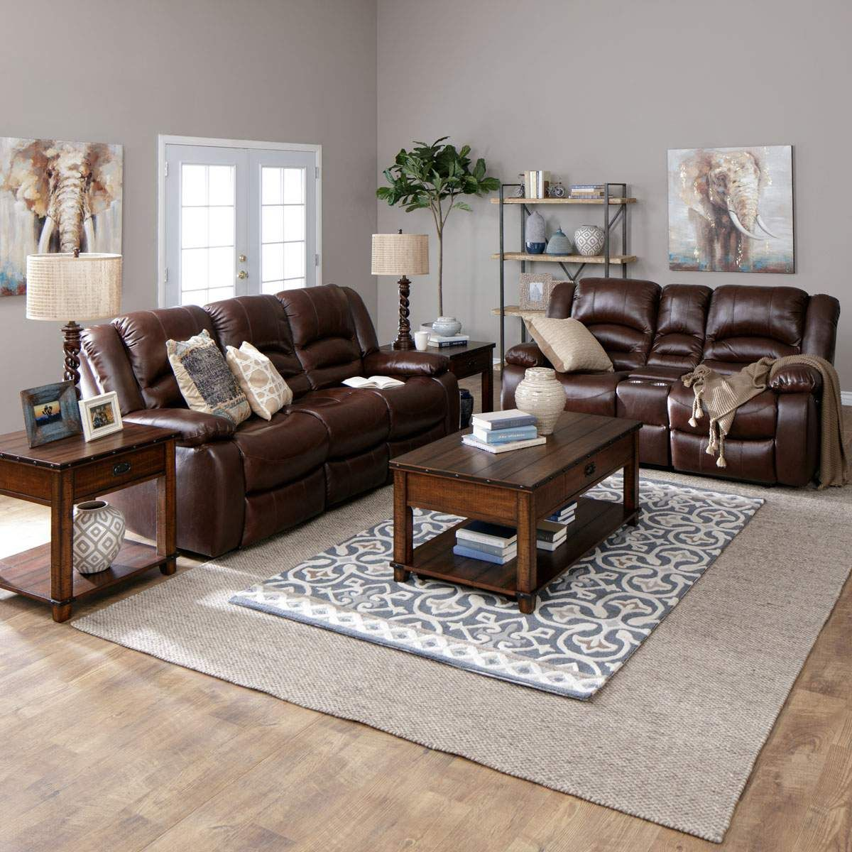 The Hennessy power reclining sofa set has a casual style ...