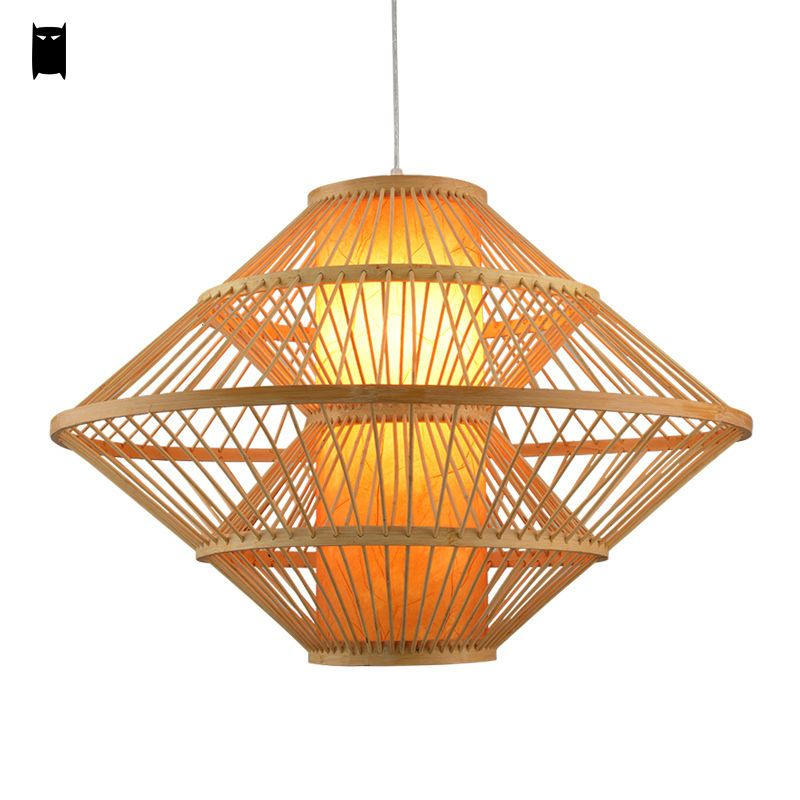 Bamboo Wicker Rattan Pendant Light Fixture Asia Hanging Ceiling Lamp Dining Room Soleil Asian