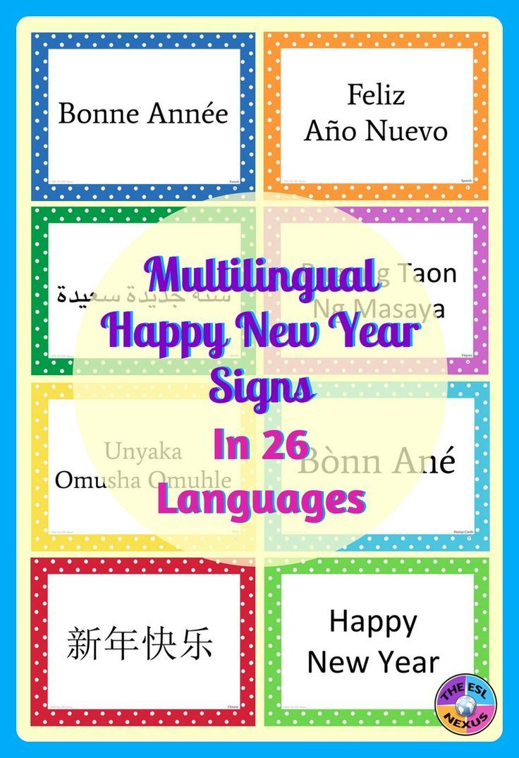 Multilingual Happy New Year Posters for Classroom Decor