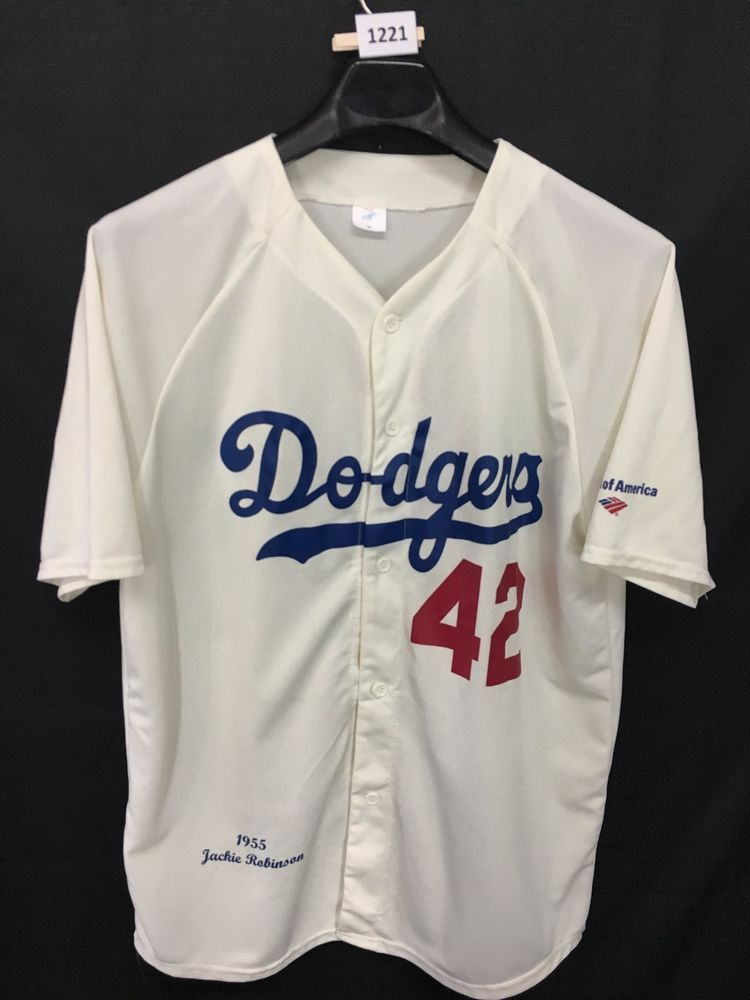 MENS XL JACKIE ROBINSON LA DODGERS 1955  42 JERSEY BASEBALL MLB   LosAngelesDodgers d8d9328e496