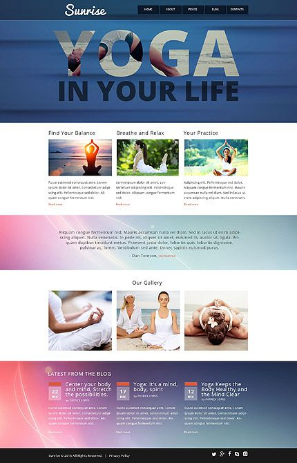sunrise yoga website template themes business responsive