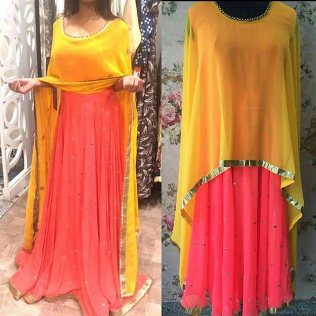 f7d53ddacaa2 Yellow pink cape dress Fabric : georgette Semi Stich Cape is attached to  the suit Made on demand only Price : INR 3500 + shipping... Order now