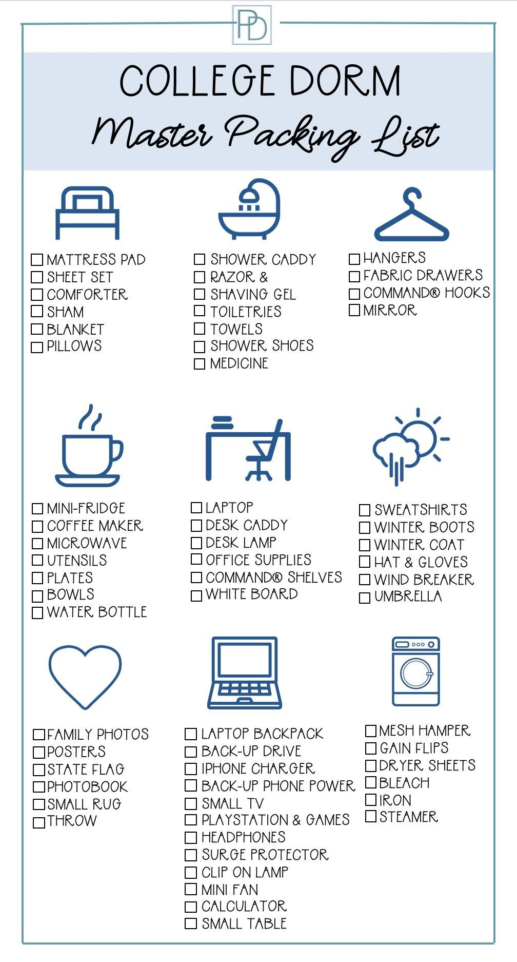 What You Need for College Dorm Life #dormroomideasforguys College dorm master packing list to help you prepare for and buy what is needed for a freshman's door room. Organized by category and printable to take with you shopping for dorm room supplies. #freshmandorm #dormdecor #collegedorm #collegepacking #guideroomguide #porchdaydreamer #collegedormroomideas