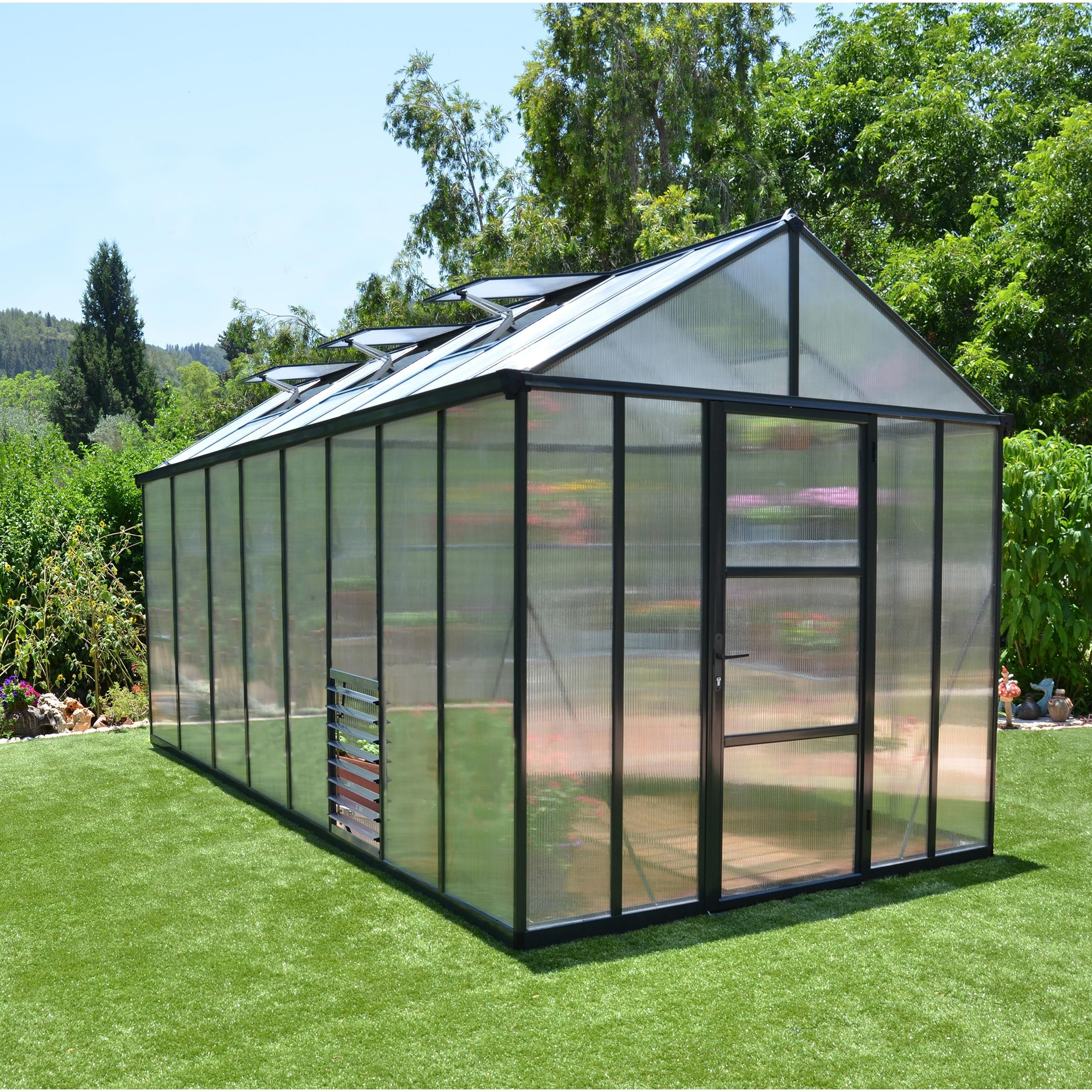 Serre de jardin GLORY 11.4 m², aluminium et polycarbonate ...
