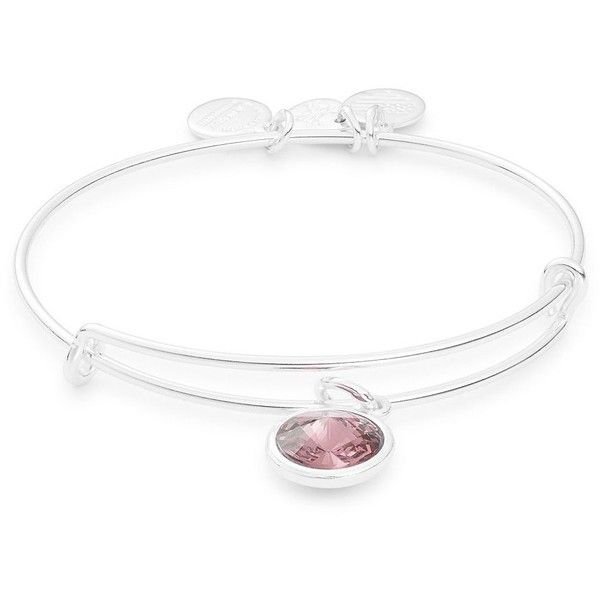 Alex And Ani June Birth Month Charm Bangle ($28) ❤ liked on Polyvore featuring jewelry, bracelets, silver, expandable bangle bracelet, expandable charm bangle, charm bangles, bangle charm bracelet and swarovski crystal bangle bracelet