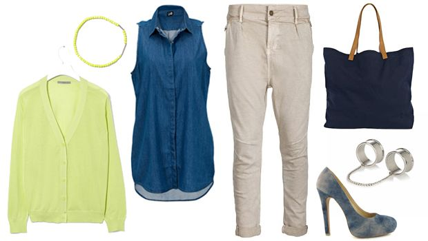 daily look - denim pump and neon items