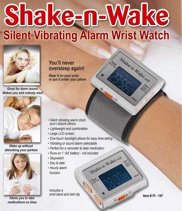 Shake N Wake Silent Alarm Clock, Silent Wake Up Alarm