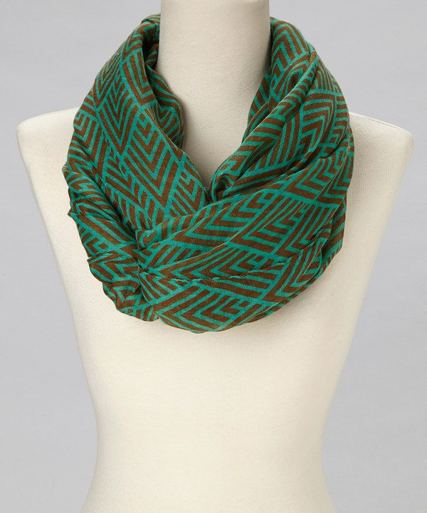 Another great find on #zulily! Ann Carol Designs Teal & Brown Abstract Infinity Scarf by Ann Carol Designs #zulilyfinds