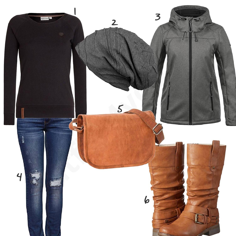 Brauner Outfit Und Umhängetasche Für Stiefeln Damenoutfit Mit XqOxwnz