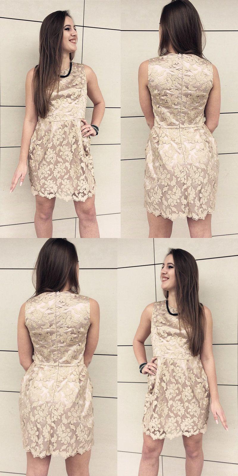 Jewel sleeveless light champagne lace short homecoming dress