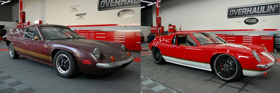 1972 Lotus Europa before and after Overhaulin got a hold of it