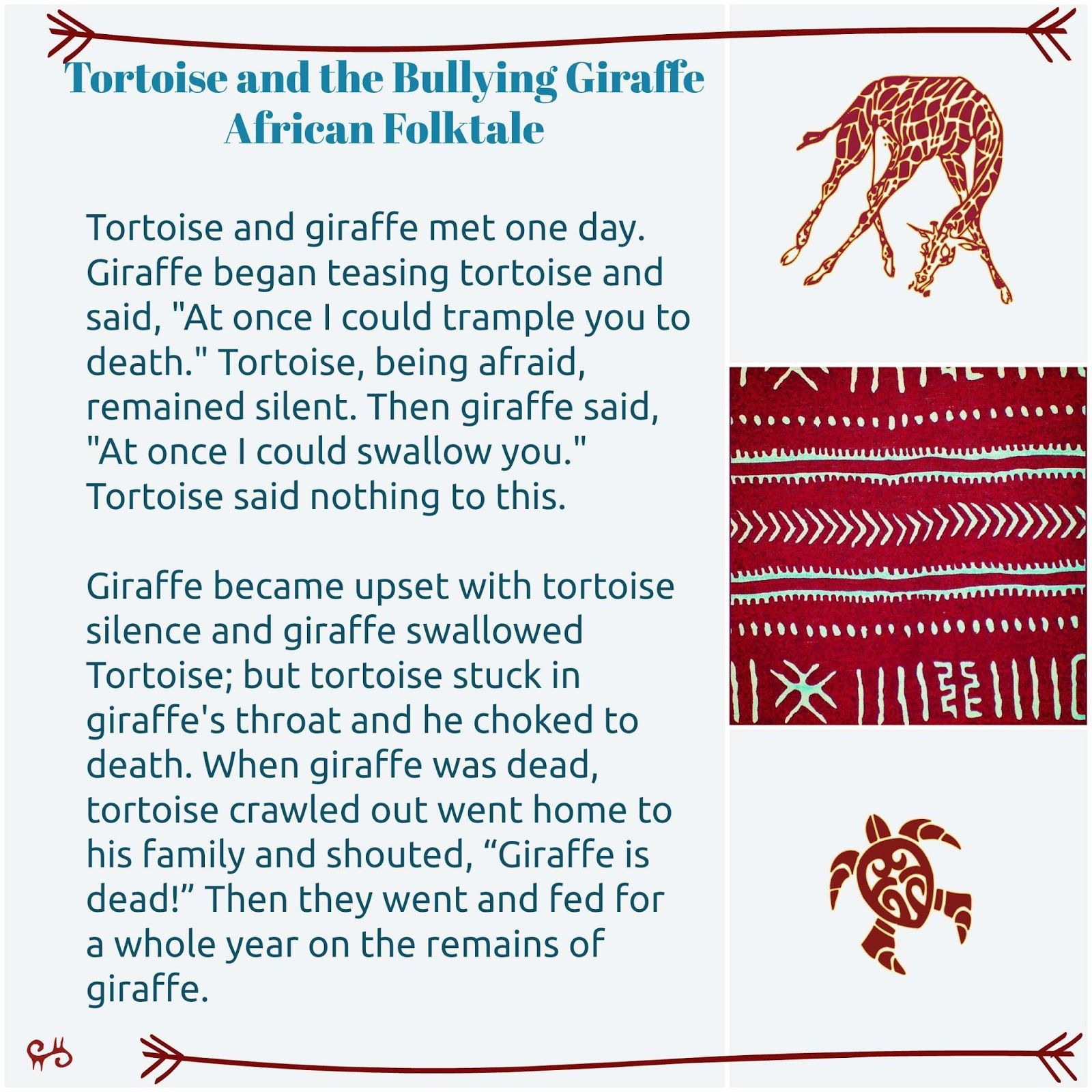 Tortoise And The Bullying Giraffe African Folktale Folk Tales Preschool Songs Bullying