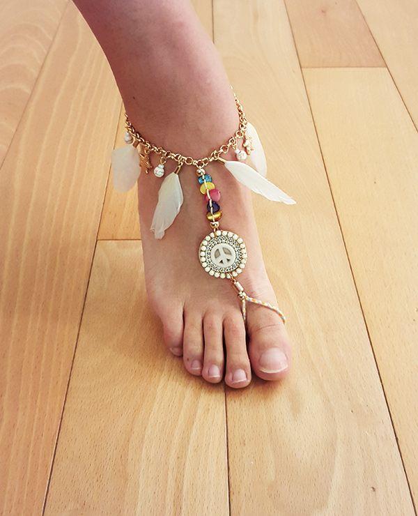 Femmes Crystal Bracelet Bracelet attaché Toe Ring Barefoot Beach Pied Bijoux