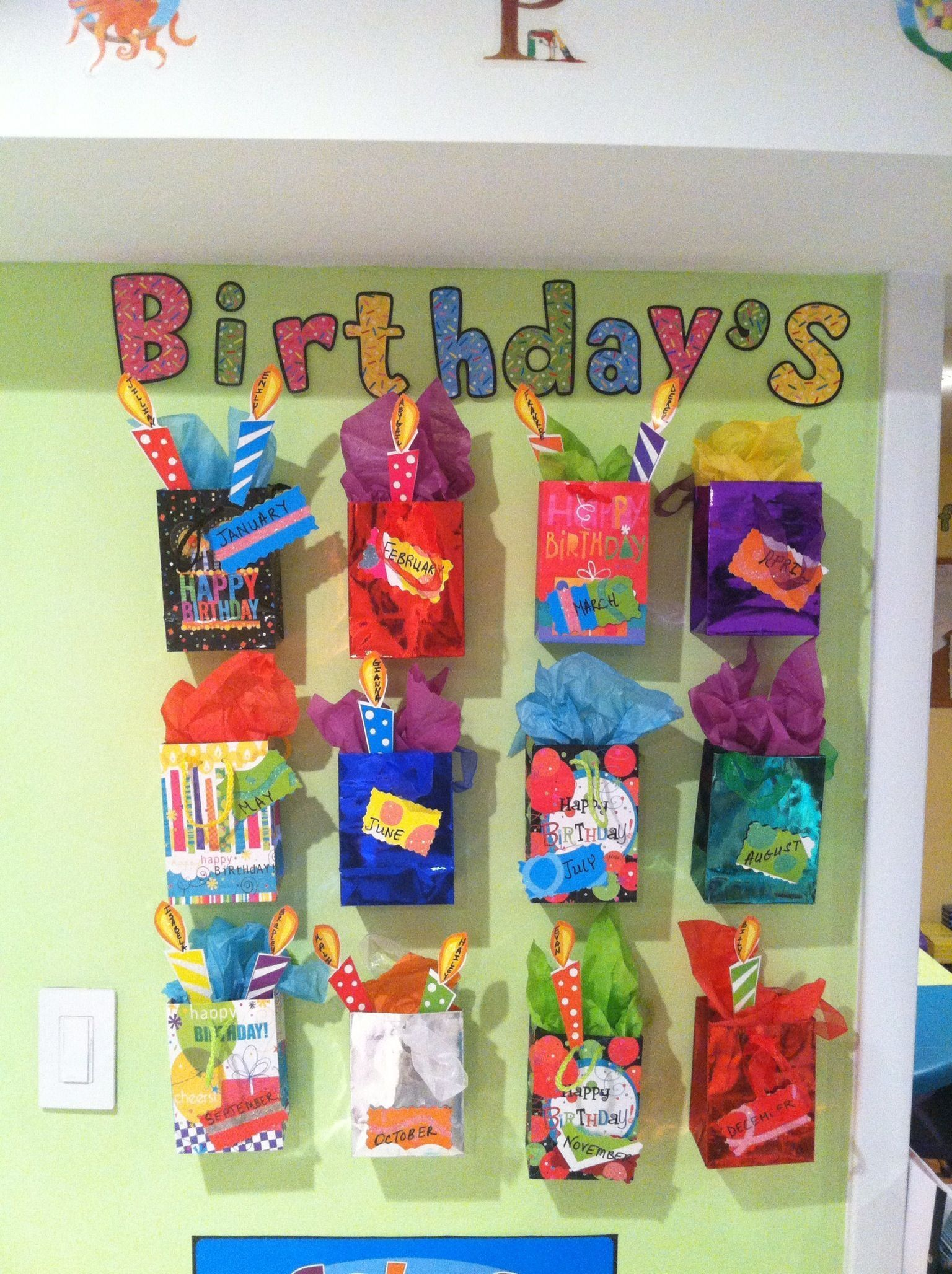 My Daughter I Just Finished Making My Birthday Calendar For The Day Care Great Idea That I Got From Pintere Daycare Decor Infant Daycare Infant Room Daycare