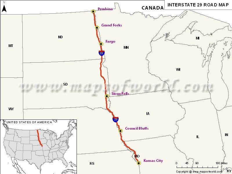 Missouri Iowa Southdakota Northdakota Interstate Map Usa
