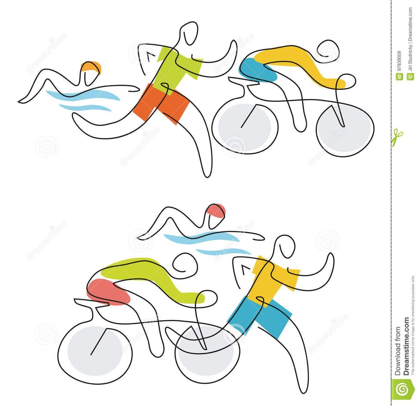 Triathlon Race Line Art Two Illustration Athletes Stylized