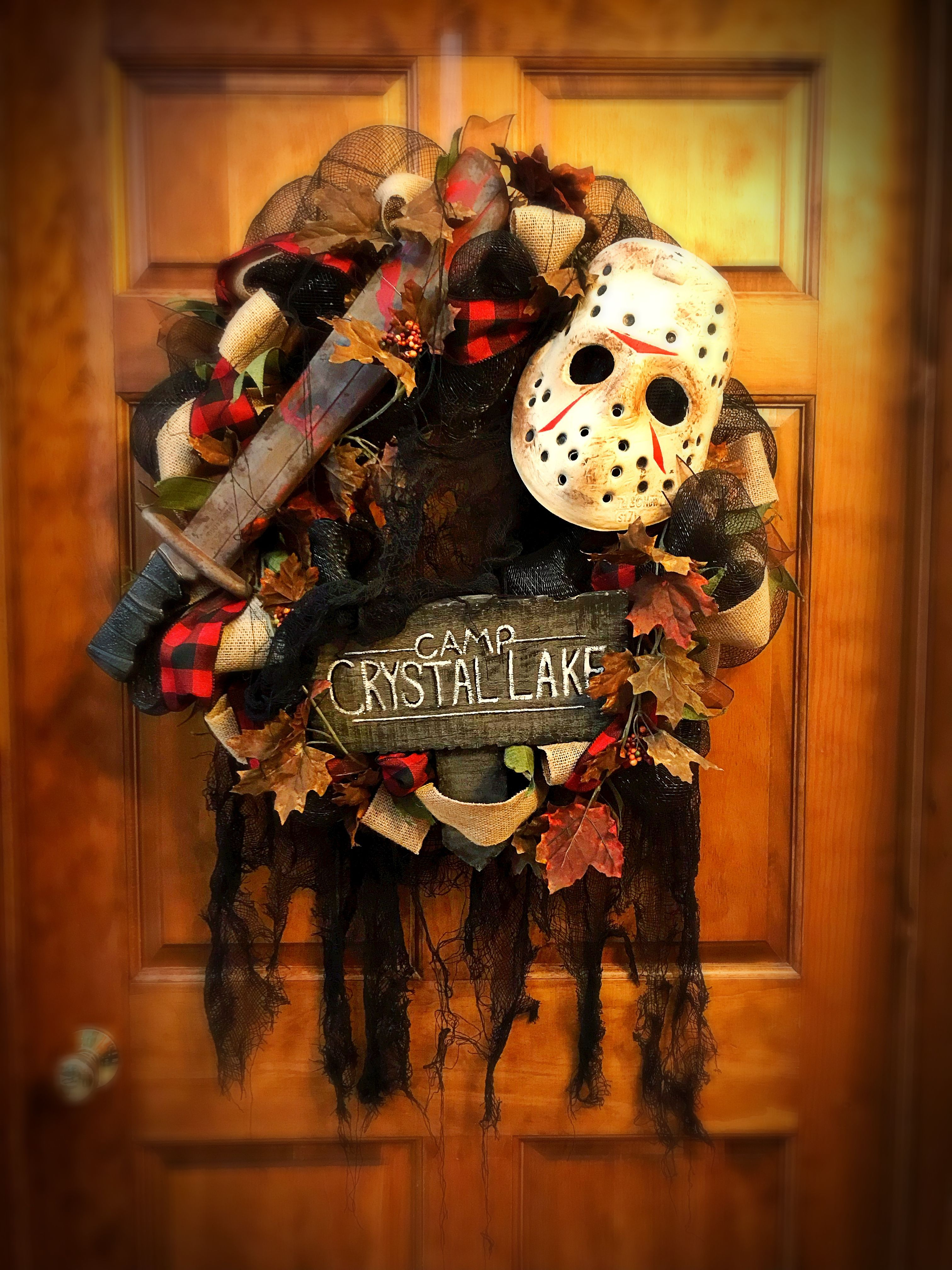 Jason - Friday the 13th Wreath #halloweenwreaths Jason - Friday the 13th Wreath #halloweenwreaths