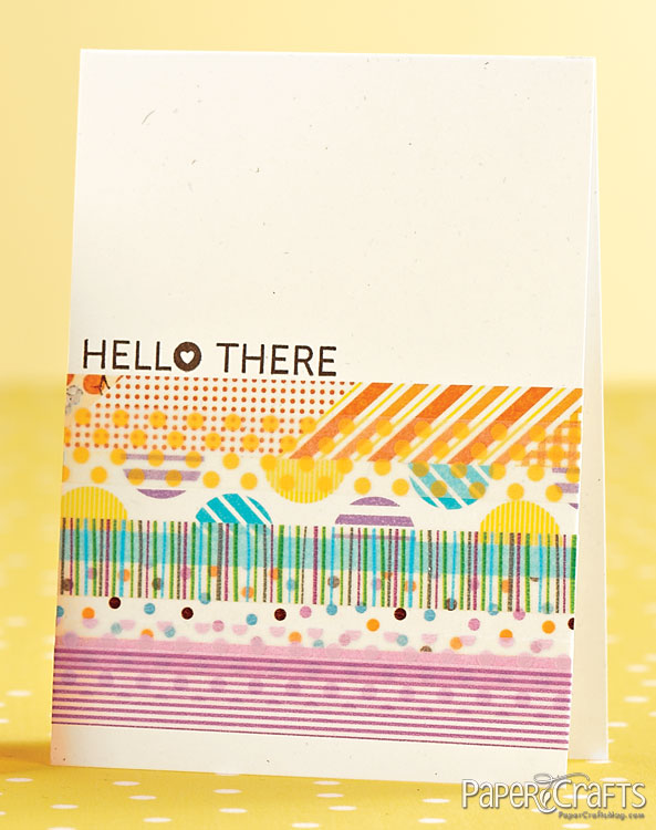 handmade card ... washi tape decoration ... complex look of this colorful design comes from layering tape over tape, but just halfway over ...
