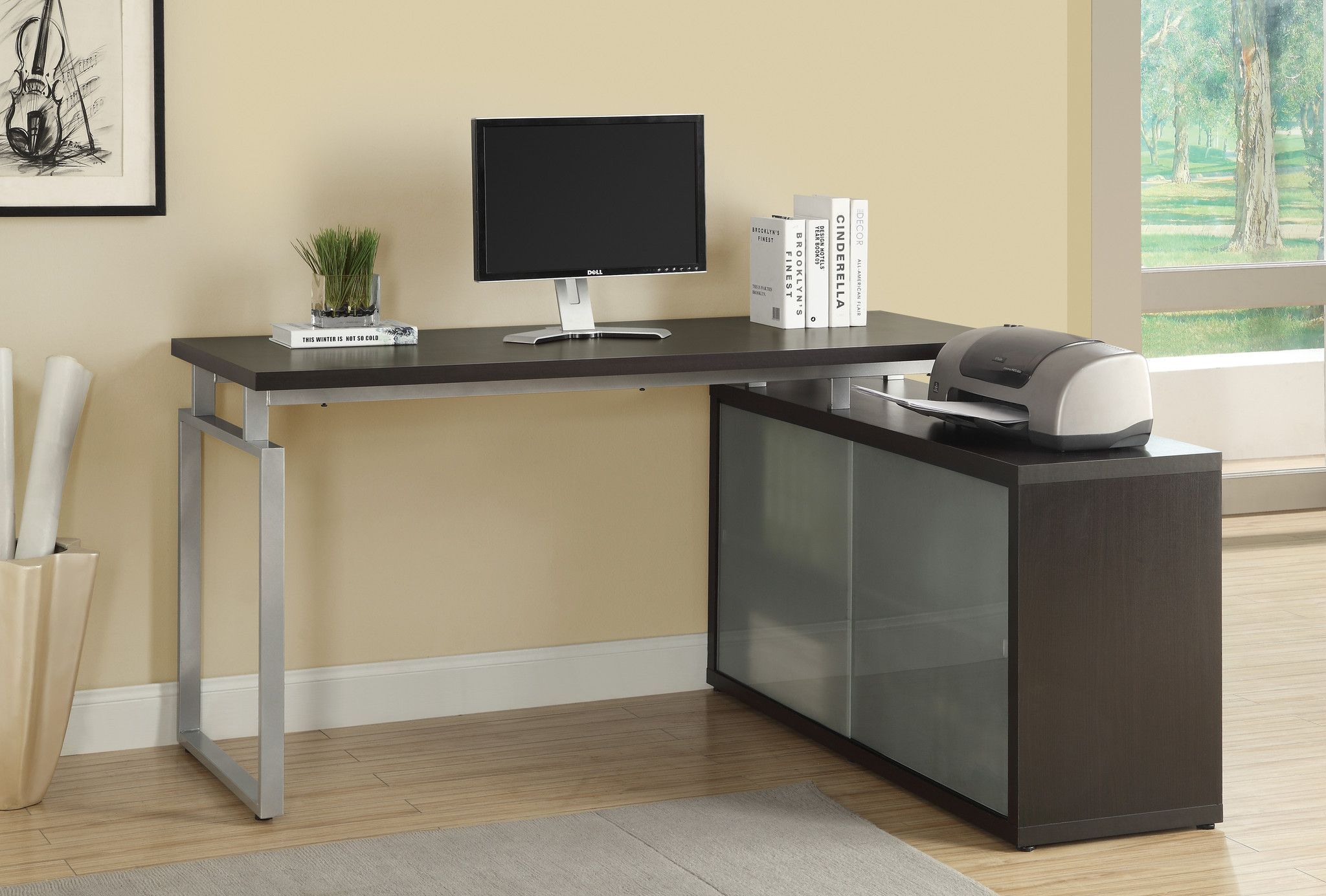 Computer Desk Cappuccino Corner With Frosted Glass L