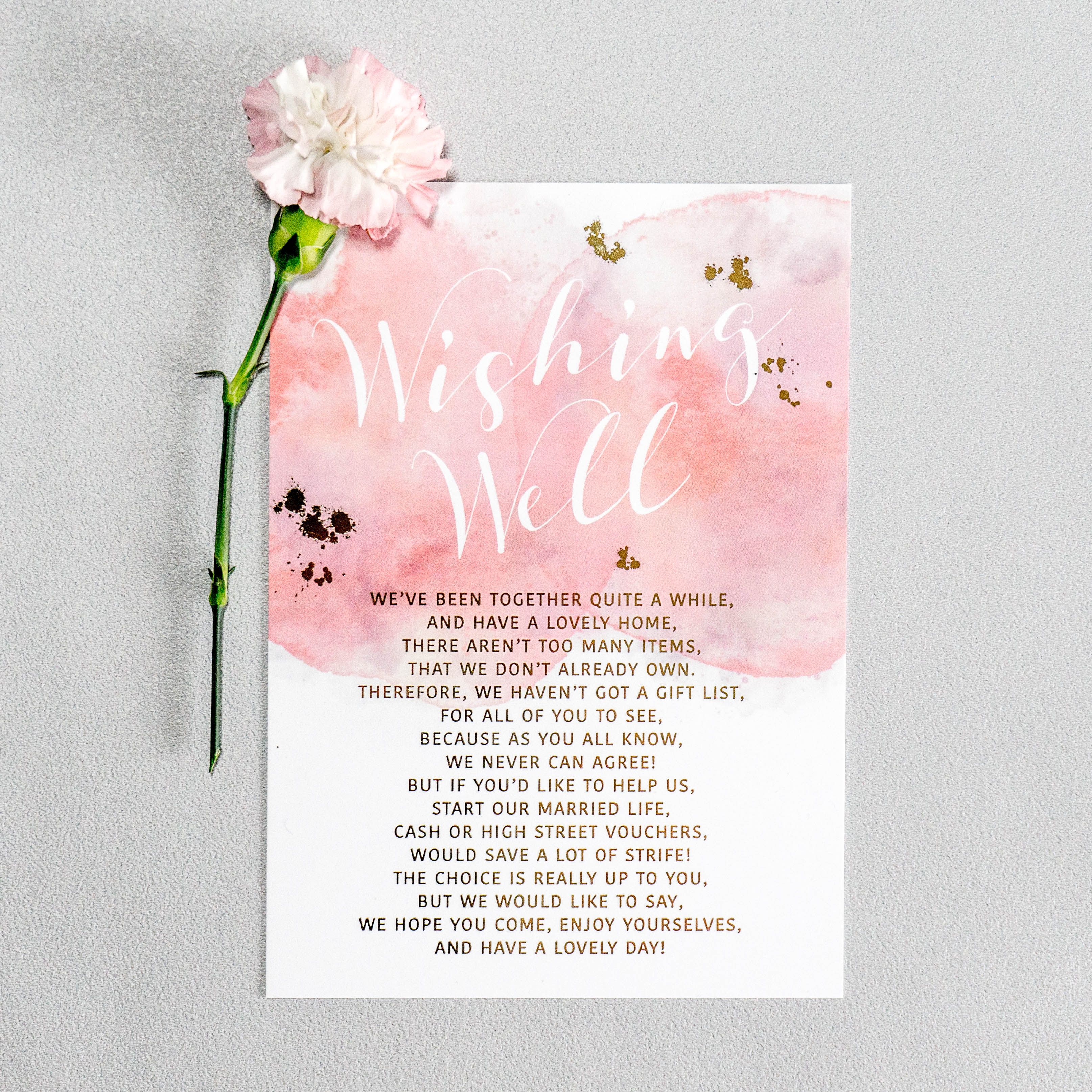 Watercolour Washed Foiled Details Adorn This Wedding Invitation