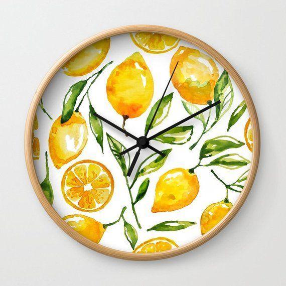 Best Lemon Wall Clock Lemon Home Decor Kitchen Wall Clock 400 x 300