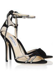 HOTTT!  Jimmy ChooMorgan crystal-embellished suede sandals