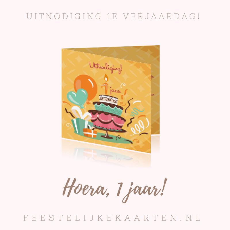 Een verjaardag uitnodiging maken voor uw kind voor 1 jaar. Een kaart voor het 1e kinderfeestje met ballonnen een taart en giraf. Hoera 1 jaar!