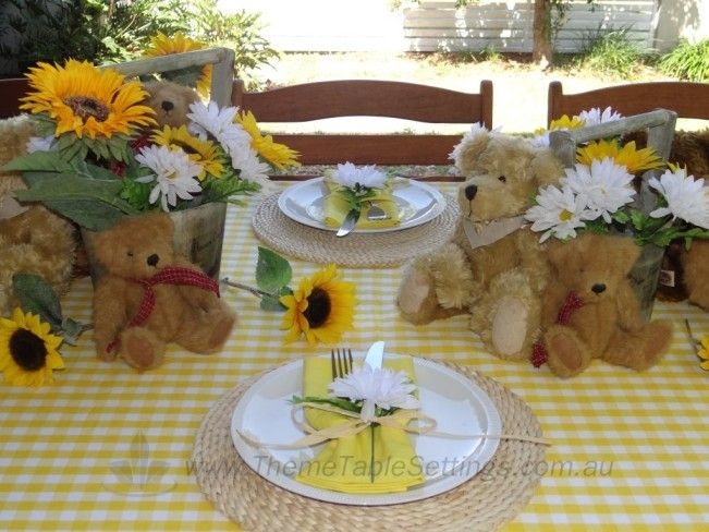 Teddy Bear\u0027s Picnic Table Setting- Complete table setting package for 8. Includes 8 place & Teddy Bear\u0027s Picnic Table Setting- Complete table setting package ...