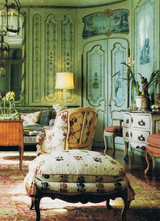 Somewhere in Switzerland at the edge of a lake, a collector gathered a home full of beautiful items, lived amongst them, enjoyed them. This photo is from a 25 year old magazine. The extensive painted boiserie is stunning…imbuing the room with a singular watery blue green cast. House and Garden Dec. 85 Trouvais