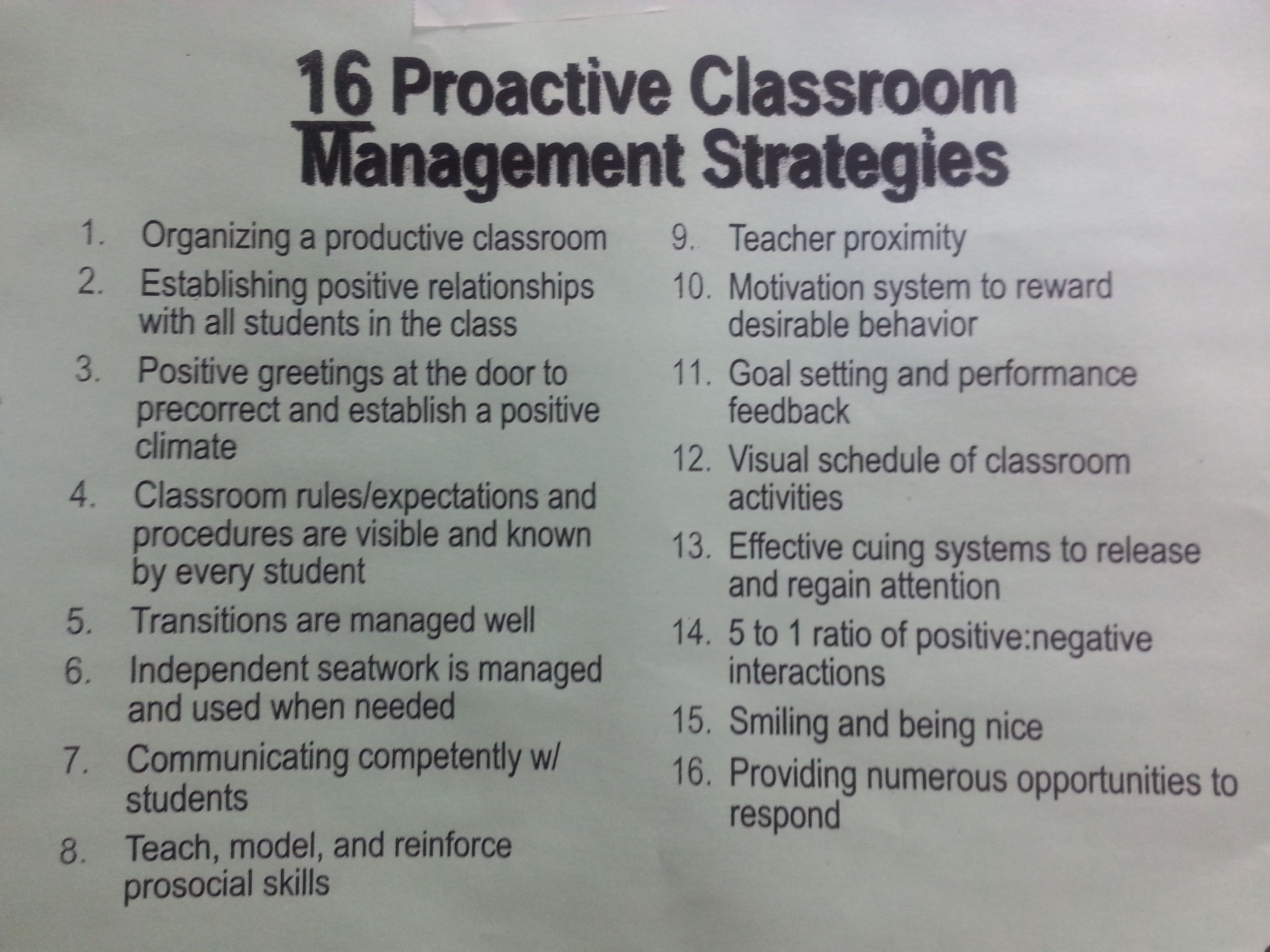 Proactive Classroom Management Strategies  Basic But A Good