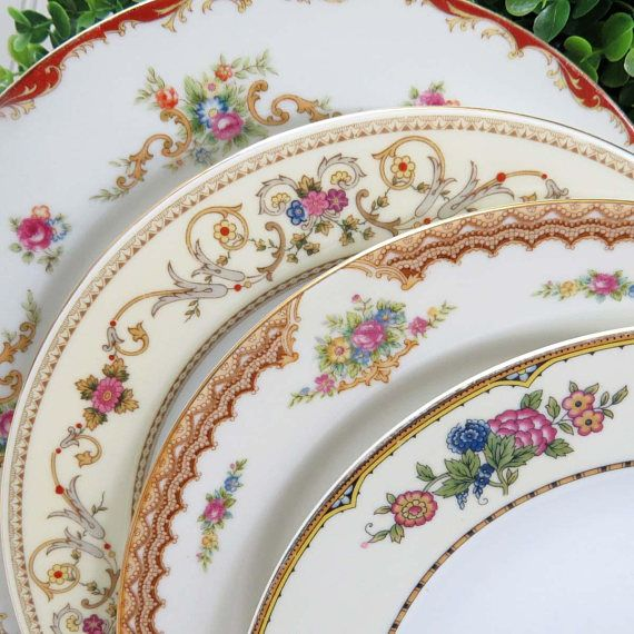Set of 4 Vintage Mismatched 10\  Fine China Dinner Plates Japanese Post War Banded : mix and match dinner plates - pezcame.com