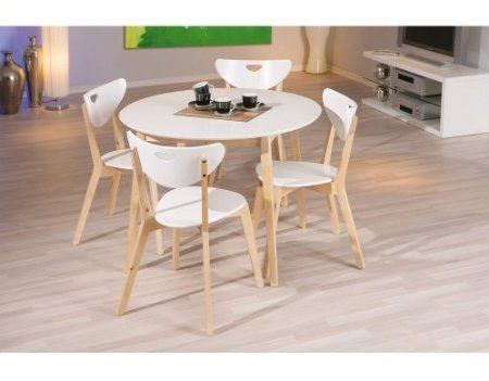 Table PEPPITA Ronde Blanche Meuble De Cuisine Ou Salle à Manger - Cdiscount table ronde pour idees de deco de cuisine