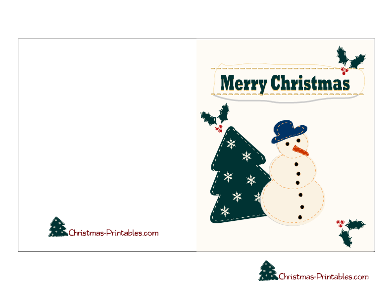 free printable christmas card featuring snow man and christmas tree