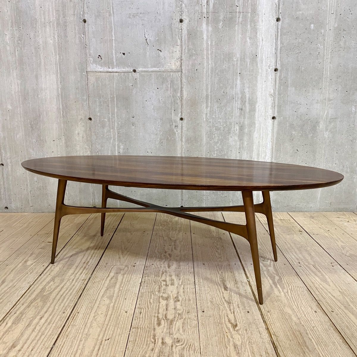 Mid Century Rosewood Ellipse Coffee Table Cast Iron Bronze Painted Base Coffee Table Furniture Design Modern Table [ 1200 x 1200 Pixel ]