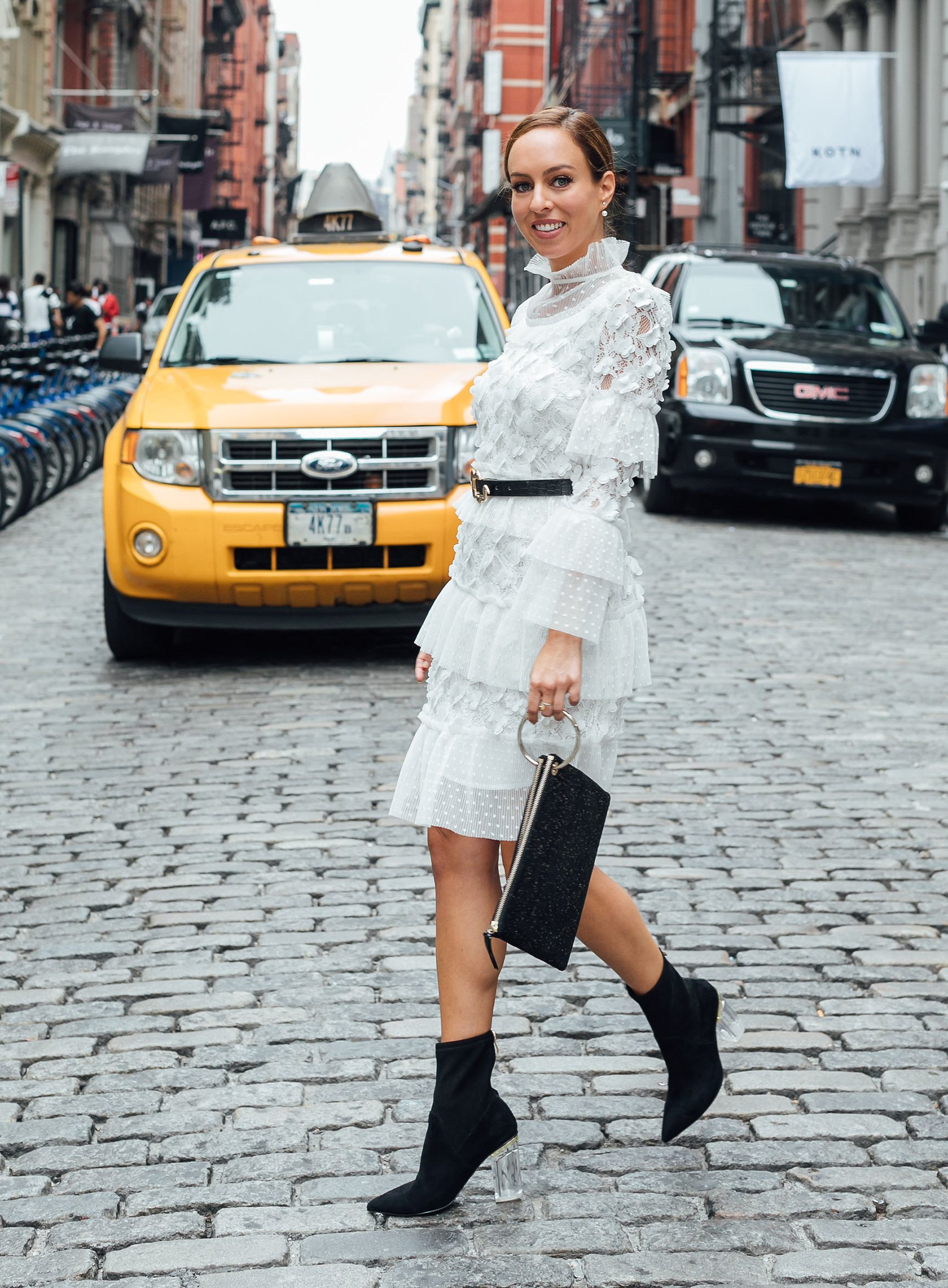 Sydne Style Shows How To Wear White After Labor Day In Elliatt Lace Dress Dresses Booties Sydnesummer