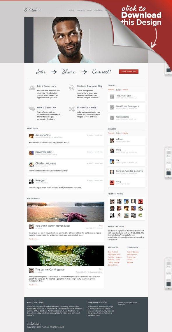 Salutation Responsive WordPress + BuddyPress Theme bbpress ...