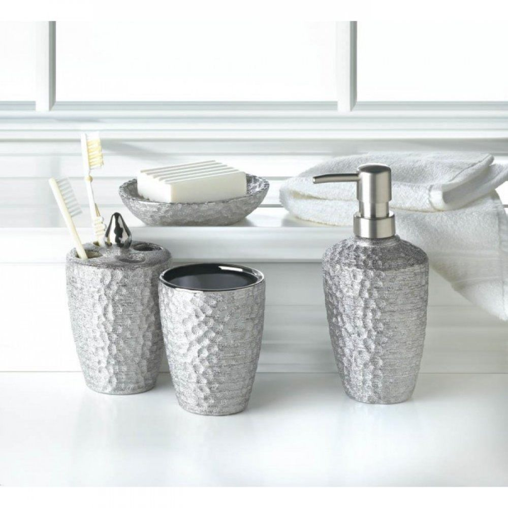 Silver Bath Accessory Set Sink Porcelain Soap Dish Tooth Brush ...