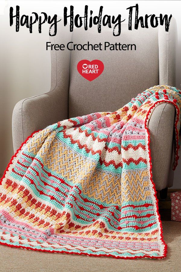 Happy Holiday Throw free crochet pattern in Super Saver yarn. This crochet throw combines corchet clusters and other intricate stitch patterns for a finihsed look that pops in a variety of colors. Make yours in bold hues to choose your holiday favorites for a more traditional look.