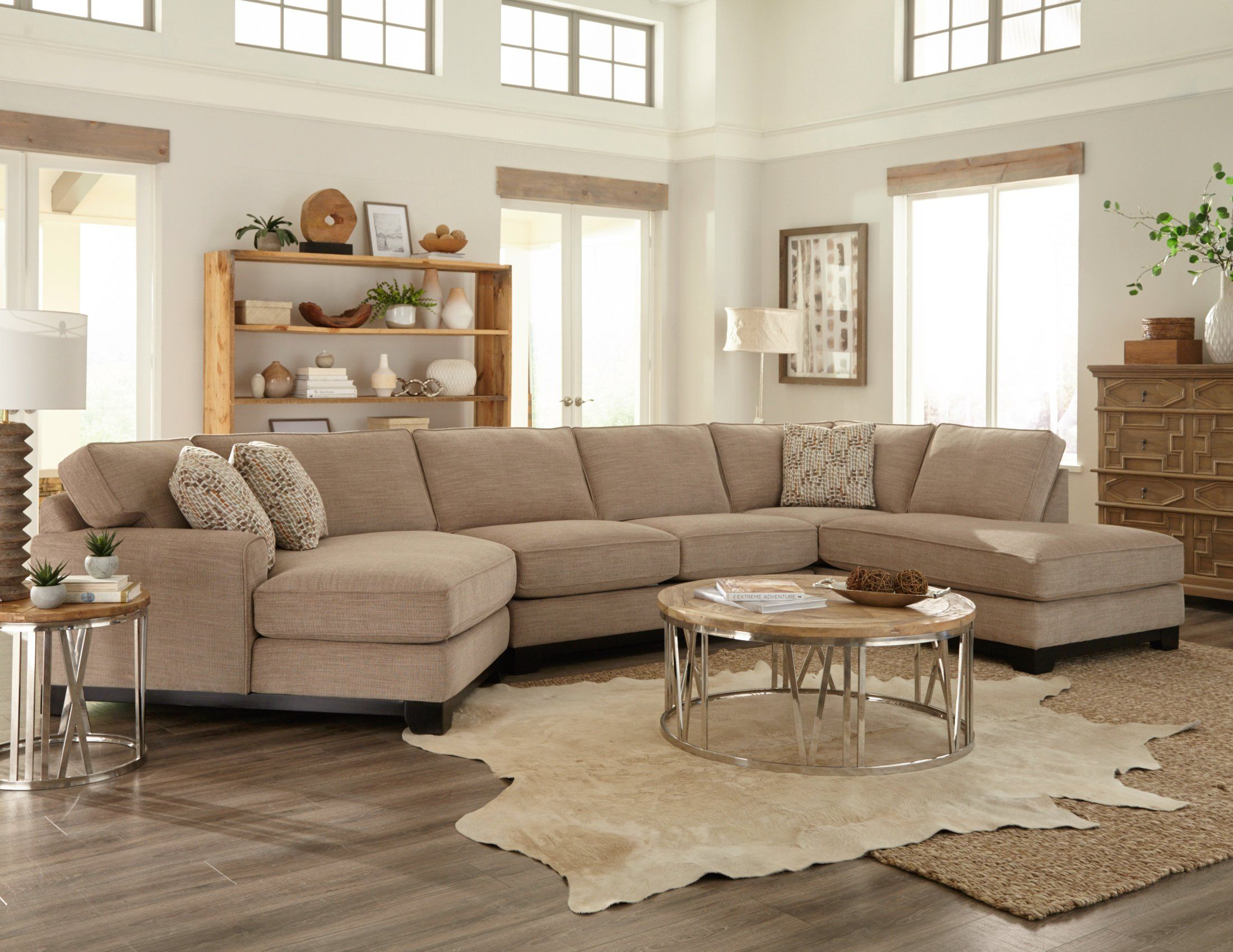 Beige 3 Piece Sectional Sofa With Raf Chaise Pisces Rc Willey Furniture Store Tan Couch Living Room Beige And White Living Room Living Room Decor Tips #rc #willey #living #room #set