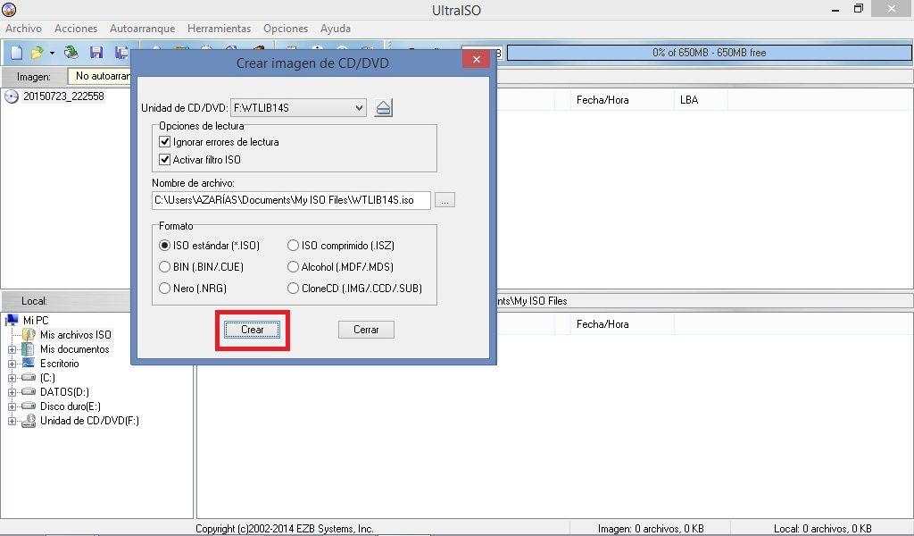 Crear imagen ISO desde CD/DVD con UltraISO  1  Abrir