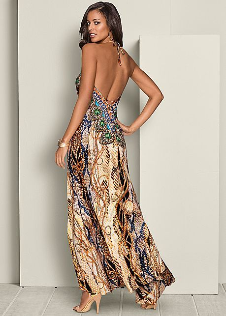 b554cd30ff58 Cream Multi Low Back Printed Maxi Dress | VENUS | Sharp dressed in ...